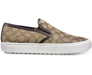 New COACH C115 Women Signature Slip on Sneakers chestnut khaki platform 10
