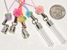 1 Rose Tube Glass Bottle Charm keychain pendant pick cl
