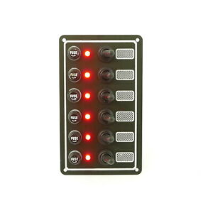 Boat Switch Panel, Toggle Switch and Fuse 6 Gang, 12V By MidMarine