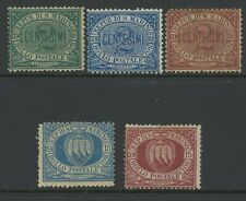 SAN MARINO, MINT, #1-3,5-7,10, NG/LH/HR, 5 SHOWN, TYPICAL CENTERING