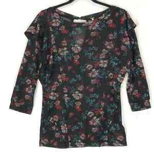 Free People size X-Small top black floral Dock Street XS NEW