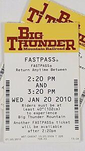 Disney FASTPASS Walt Disney World Fast Pass Ticket BIG THUNDER MOUNTAIN 2:20