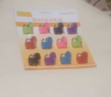 1 Pack of 12 ,23mm Coloured Plastic Coated Brass Padlock Travel Luggage Padlocks