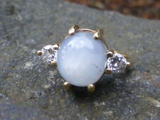 Vintage 14K Yellow Gold Violetish-Gray Star Sapphire and Diamond Ring - Size 5