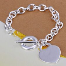 Charm T-O Bracelet For Women H274 Fashion 925Sterling Solid Silver Jewelry Heart