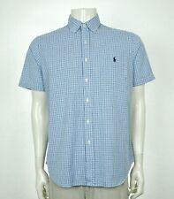 Polo Ralph Lauren Blue Plaid Striped Cotton Button Shirt Mens Large