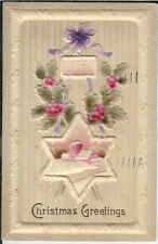 BA-058 Christmas Greetings Embossed Star Holly 1907-1915 Postcard Golden Age