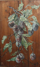1915 Floral oil painting plums signed