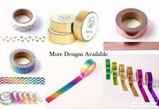 Washi Tape Gold Silver Pink Foil 15mmx10m Premium Paper Decorative Scrapbooking