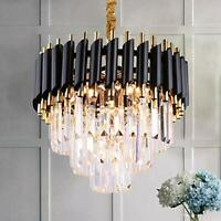Black Modern Crystal Chandelier Light 3 Tiers Raindrop Crystals Pendant Fixture