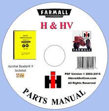 Farmall H Amp Hv Tractor Parts Manual New No Grease