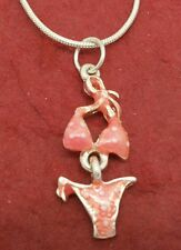 Bikini Necklace Silver Plated Pink