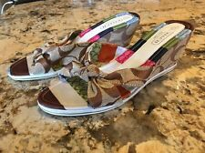 Coach Wedge High Heels Sandals Shoes Bow Front Size 37