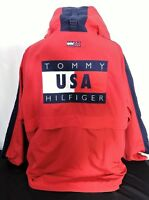 Vintage Tommy Hilfiger Men's Sz XL Big Flag Jacket Spell Out Coat Red w/ Hood
