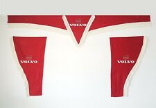 Set Of 3 pcs. Red Curtains With White Tassels  And Logo For VOLVO FH3 / FH4 / FM