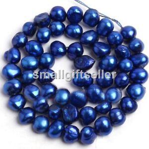 "5-7mm Natural Deep blue Freshwater Pearl Freeform Shape Gems Beads Strand 14"""