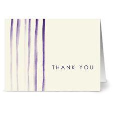 24 Note Cards - Plum Stripes Painted Thank You - Kraft Envs