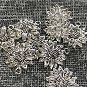 100pcs 22*19mm Beauty Sunflower Charms Antiuqe Silver Tone Pendant Bead Making