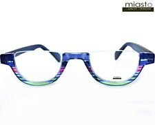 MIASTO TOP RIMLESS HALF MOON 1/2 OVAL READER READING GLASSES+2.50 BLUE LARGE