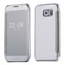 Etui Housse Coque Clear View Cover miroir Argenté pour Samsung Galaxy J7 2016