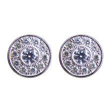 Diamond-Unique Round Cluster Solid Silver Rhodium Platinum Stud Earrings 50799