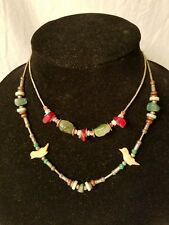 2 SILVER JADE TURQUOISE CARVED SHELL BIRDS BEAD 1970s CHOKER NECKLACE