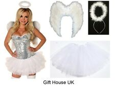 Fancy Dress Angel Fairy Feather Wings Halo Tutu Costume Outfit Hen Party WHITE