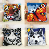 Animal Latch Hook Kit Handmade Pillow Case Cushion Cover DIY Gifts Home Decor
