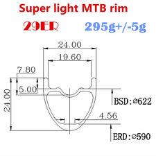 295g Super light 29ER 24mm Wide Carbon MTB Bike Rims for XC,Tubeless Compatible