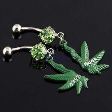 Pair Best Buds 2-Half Marijuana Leaf Dangle Dark Green Belly Navel Ring JW479 TW