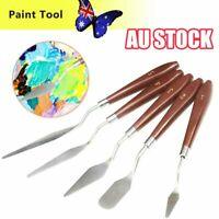 5Pcs Stainless Steel Artist Oil Painting Palette Knife Spatula Paint Tool Set 6J