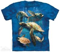 Sea Turtle Family T-Shirt by The Mountain. Aquatic Marine Reptile Sizes S-5X NEW