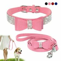 Rhinestone Bling Leather Dog Cat Collar & Leash Set Crystal Cute Bowknot