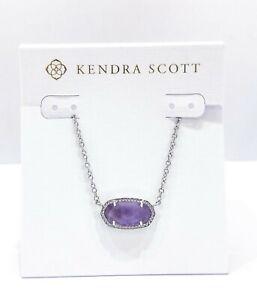 NEW Authentic KENDRA SCOTT Elisa Rhodium 513 Purple Amethyst Pendant Necklace