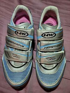 NEW Northwave Women's Cycling Silver Blue Airflow System Shoe Sz 6.5 US 38 EU