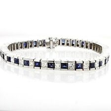 Princess cut diamond and sapphires gold tennis bracelet TCW10.24 channel set 18k