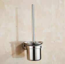 Wall Mounted Chrome Bathroom Stainless Steel Cleaning Toilet Brush & Holder Set