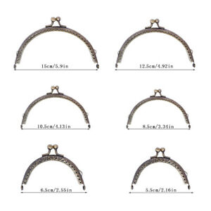 6 Sizes Metal Clasp Lock Frame For Coin Purse Bag DIY Making Vintage Gothic