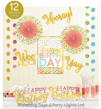 12 Piece Pink Gold Happy Birthday Room Decoration Kit Strings Paper Fans Banners