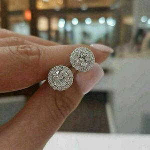 3CT Round Cut D/VVS1 Diamond Screw Back Halo Stud Earrings 14k White Gold Finish