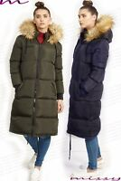 NEW Womens PUFFER Faux Fur PADDED Ladies JACKET COAT Black Size 8 10 12 14 16 ML