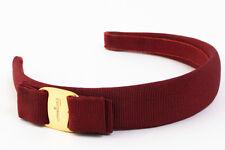 Authentic Salvatore Ferragamo Vara Headband Hair Accessories Bordeaux Red #3776