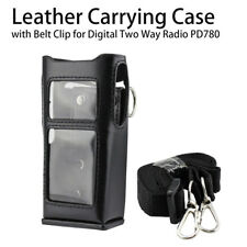 Leather Carrying Case Holder with Belt Clip for Digital Two Way Radio PD780