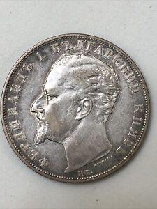 BULGARIA 1894 5 Leva Silver Crown