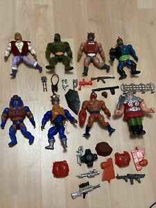 Large Lot Vintage He-Man Figures Lot Motu Masters of the Universe Mattel Weapons
