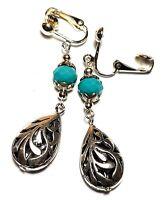 Pair Long Turquoise clip on Earrings Tibetan Silver Style Glass Bead Boho Hippy