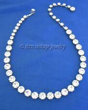 Vintage 1950's WEISS signed clear rhinestone DOT Silver link CHOKER Necklace