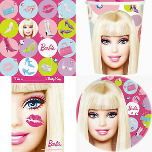 BARBIE 40 Piece Party Pack Plates Cups Loot Bags Napkins Birthday Kids