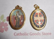 Saint Benedict - 1 inch Gold Tone and Enameled - Medal