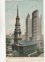 St Paul Church New York USA Vintage U/B Postcard US014